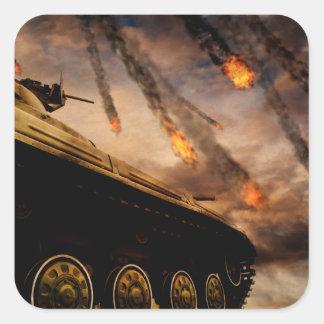 Military Tank on Battlefield Square Sticker