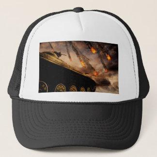 Military Tank on Battlefield Trucker Hat