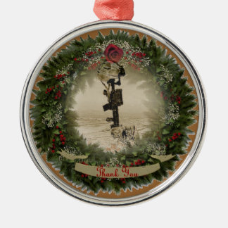 military thank you metal ornament