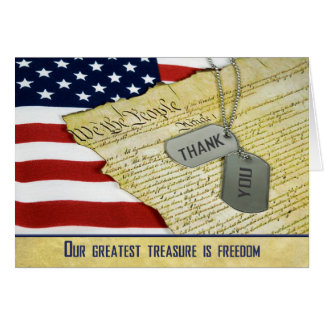 Military Thank You with dog tags Card
