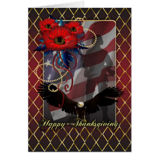 Military Thankgving Card - Poppies Soldier USA Fla