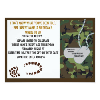 Military theme birthday party card