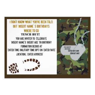 Military theme birthday party custom invite