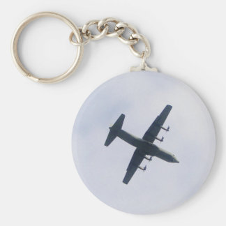 Military Transport Aircraft Basic Round Button Key Ring
