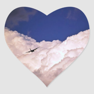 Military Transport Airplane Heart Sticker