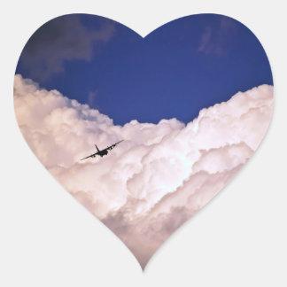 Military Transport Airplane Heart Sticker