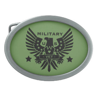 MILITARY VET_black design Oval Belt Buckles