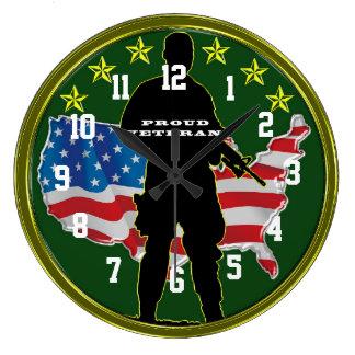 Military Veteran and Proud Large Clock