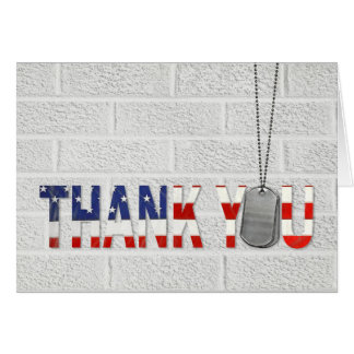 military veteran thank you dog tags card
