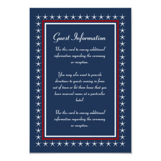 Military Wedding Guest Information Cards