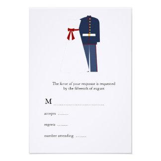 Military Wedding RSVP Cards Custom Announcement