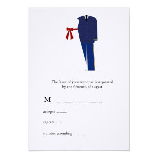 Military Wedding RSVP Cards Custom Invitations