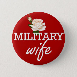 Military wife-white rose 6 cm round badge