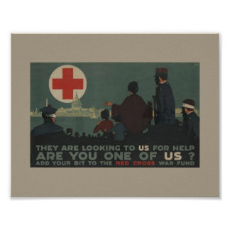 Military Women World War One Red Cros Poster