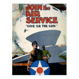 Military WWI poster plane soldier Postcard