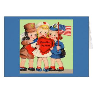 Military WWII WACS & WAVES Servicewoman Valentiine Card