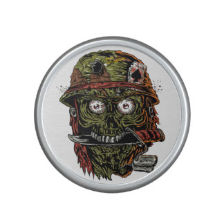 military zombie with knife in mouth bluetooth speaker