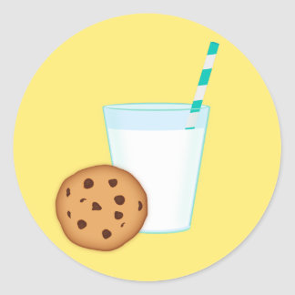 Milk and Chocolate Chip Cookie Classic Round Sticker