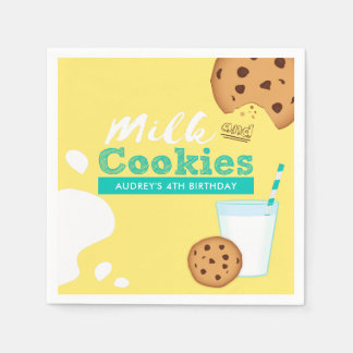 Milk and Chocolate Chip Cookies Birthday Party Disposable Serviette