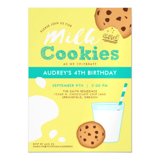 Milk and Chocolate Chip Cookies Birthday Party Magnetic Invitations