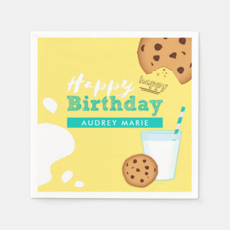Milk and Chocolate Chip Cookies Happy Birthday Paper Serviettes