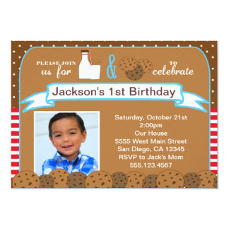 Milk and Cookies Birthday Party Invitations Photo