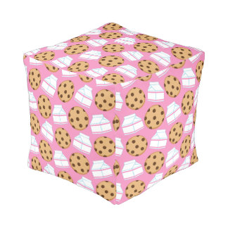 Milk and Cookies Pattern Cube Pouffe