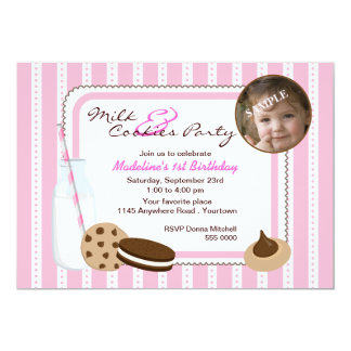 Milk and Cookies Photo Birthday 13 Cm X 18 Cm Invitation Card