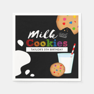 Milk and Cookies Rainbow Birthday Party Disposable Serviettes