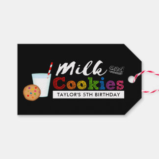 Milk and Cookies Rainbow Birthday Party Gift Tags