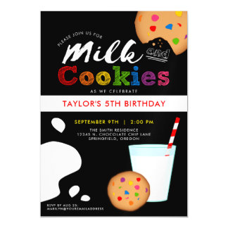 Milk and Cookies Rainbow Birthday Party Magnetic Card