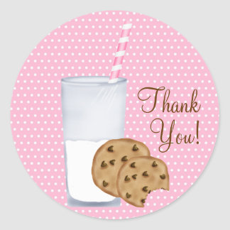 milk and cookies round sticker