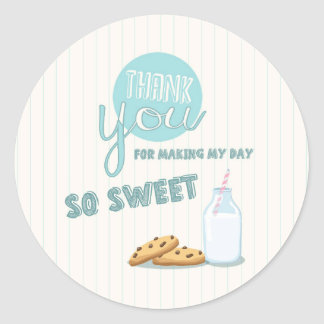 Milk and Cookies Thank You Tags Cupcake Toppers Round Sticker