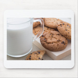 Milk and oatmeal cookies with chocolate mouse pad