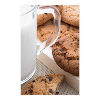 Milk and oatmeal cookies with chocolate stationery