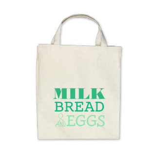 Milk, Bread and Eggs Reusable Grocery Bag
