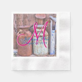 Milk Cans Vintage Metal Rustic Antique Monogram Disposable Napkins