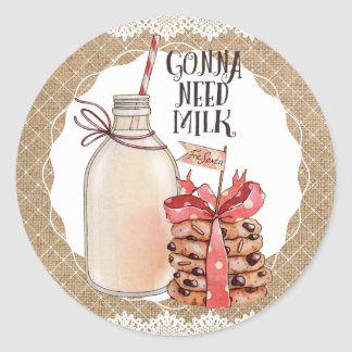 Milk Christmas cookies baking from the kitchen of Round Sticker