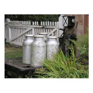 Milk churns at Stogumber Station, Somerset, UK Postcard