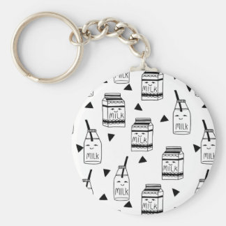 Milk & Cookies - Black White Food / Andrea Lauren Basic Round Button Key Ring