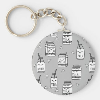Milk & Cookies Grey Kids Food / Andrea Lauren Basic Round Button Key Ring