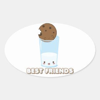 Milk & Cookies Oval Sticker