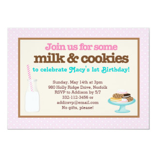 """Milk & Cookies Party (Pink) 5"""" X 7"""" Invitation Card"""