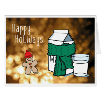 """""""Milk & Ginger"""" Funny Gold Holiday Greeting Card"""