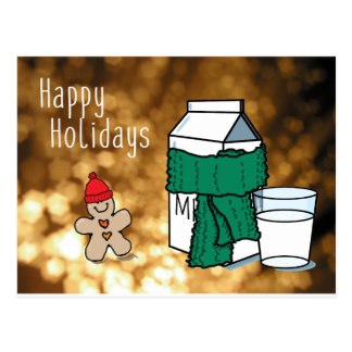 """Milk & Ginger"" Funny Happy Holidays Gold Postcard"