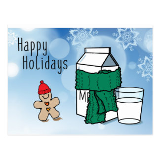 """Milk & Ginger"" Funny Happy Holidays Postcard"
