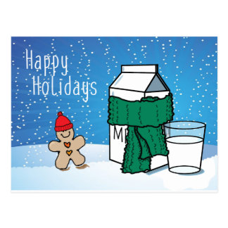 """Milk & Ginger"" Funny Happy Holidays Snow Postcard"