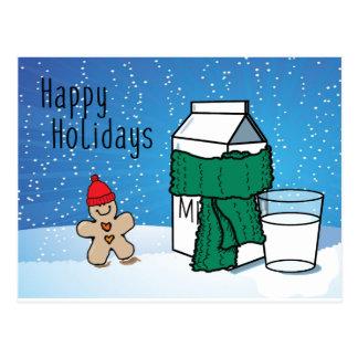 """Milk & Ginger"" Funny Happy Holidays Snow Postcard"