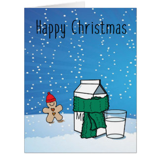 """""""Milk & Ginger"""" Funny Snow Christmas Greeting Card"""