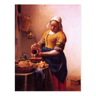 Milk maid by Johannes Vermeer Postcard